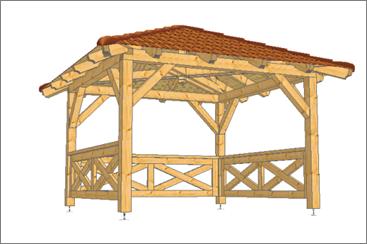 Střechy 92 - altán vizualizace