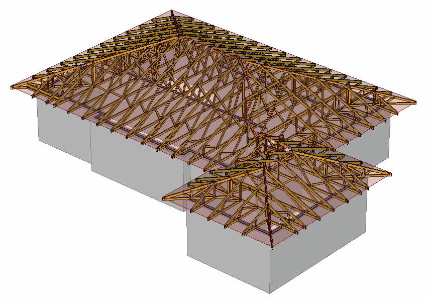 Kombinace valbových střech model