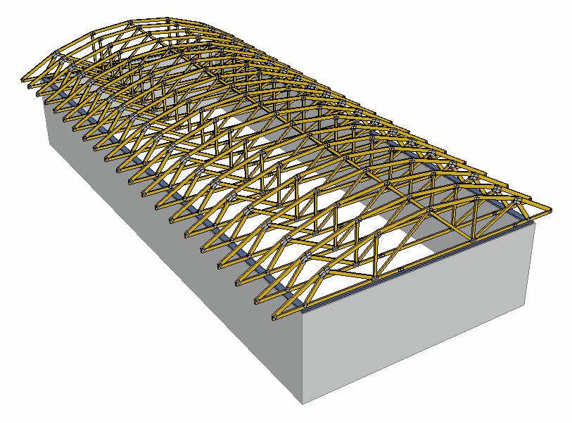 Oblouková střecha model