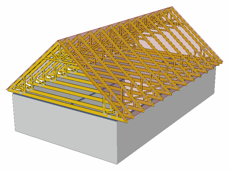 Střecha s využitým půdním prostorem model